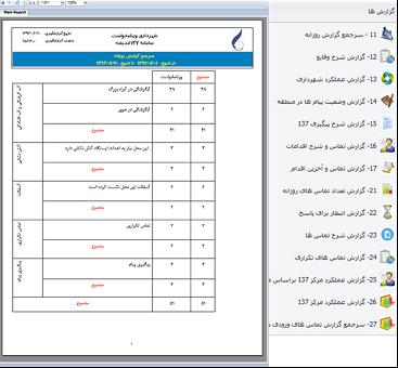 لیست گزارش ها در سامانه 137 شهرداری تهران